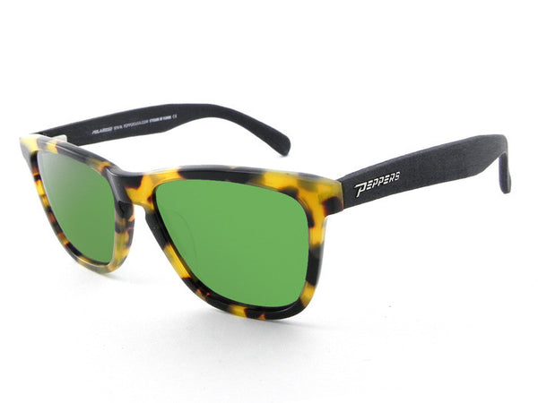 Peppers - Black Sands Tokyo Tort + Black Temples Sunglasses, Green Mirror Lenses