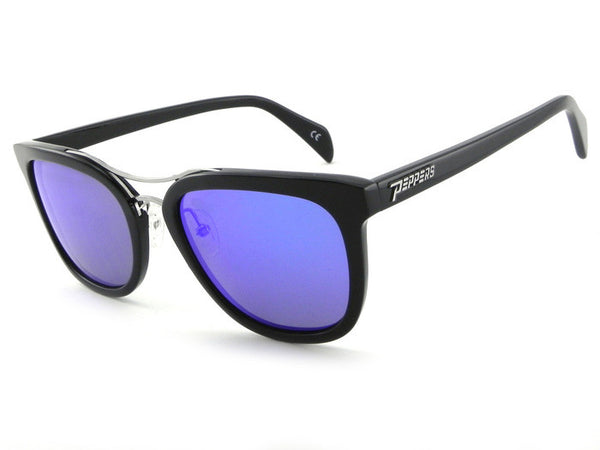 Peppers - Lenox Black Sunglasses, Blue Mirror Lenses