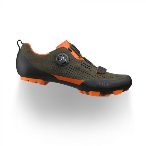 Fizik - Terra Suede X5 Suede Military Green Orange Fluo Off-Road Shoes