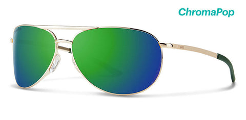Smith - Serpico Slim 2 Gold Sunglasses / ChromaPop Sun Green Mirror Lenses