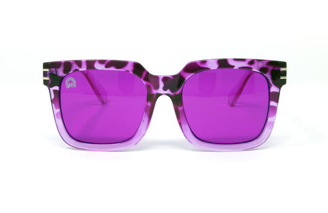 RainbowOPTX - Unit Leopard Sunglasses / Magenta Lenses