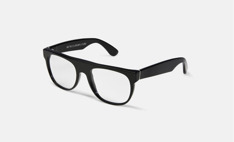 Super - Flat Top Black Eyeglasses / Demo Lenses