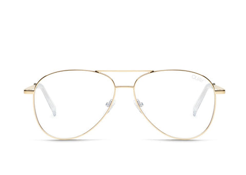 Quay Still Standing Gold Eyeglasses / Clear Blue Light Lenses