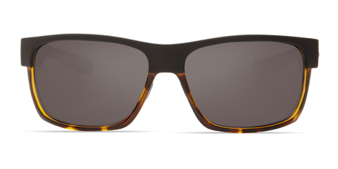 Costa - Half Moon Matte Black + Shiny Tortoise Sunglasses / Gray Polarized Glass Lenses