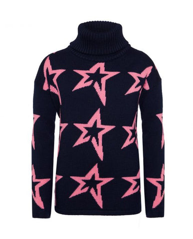 Perfect Moment - Kids' Stardust Merino Wool Navy Peach Pink Star Turtleneck Sweater