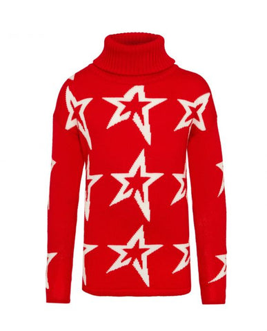 Perfect Moment - Kids' Stardust Merino Wool Red Snow White Star Turtleneck Sweater