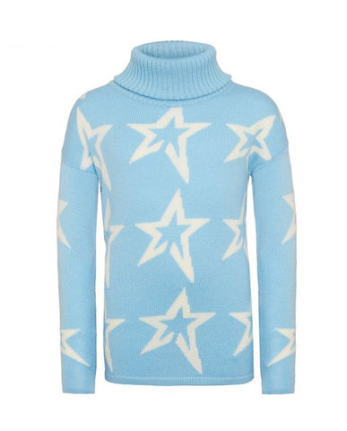 Perfect Moment - Kids' Stardust Merino Wool Alaska Blue Snow White Star Turtleneck Sweater