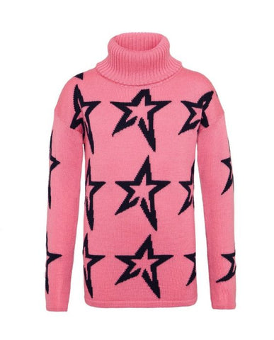 Perfect Moment - Kids' Stardust Merino Wool Peach Pink Navy Star Turtleneck Sweater