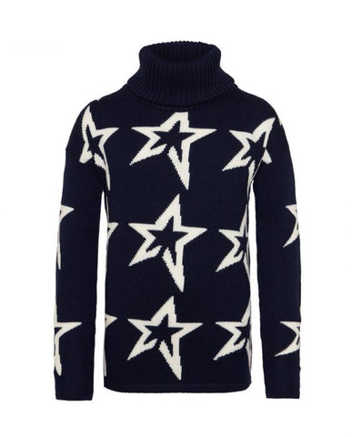 Perfect Moment - Kids' Stardust Merino Wool Navy Snow White Star Turtleneck Sweater