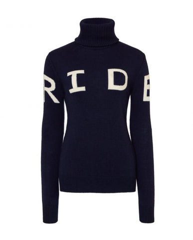Perfect Moment - Women's Merino Wool Ride II Navy Turtleneck Sweater