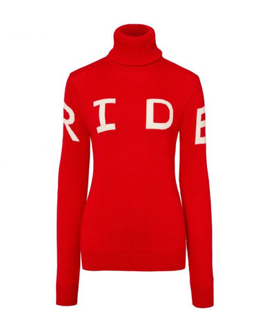 Perfect Moment - Women's Merino Wool Ride II Red Turtleneck Sweater