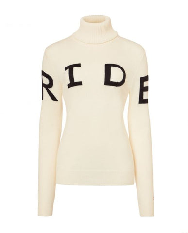 Perfect Moment - Women's Merino Wool Ride II White Turtleneck Sweater