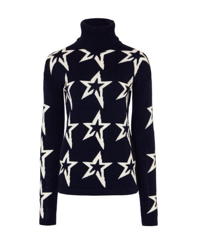 Perfect Moment - Women's Merino Wool Stardust Navy Snow White Star Turtleneck Sweater