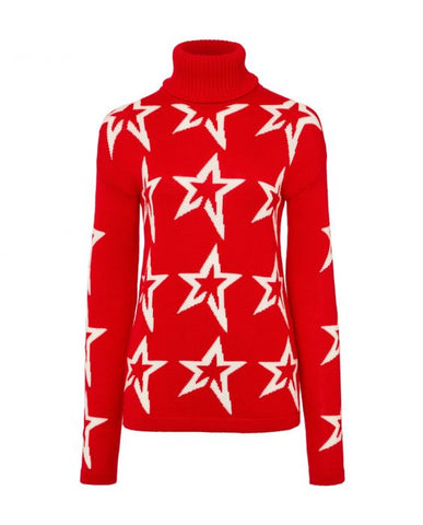 Perfect Moment - Women's Merino Wool Stardust Red Snow White Star Turtleneck Sweater