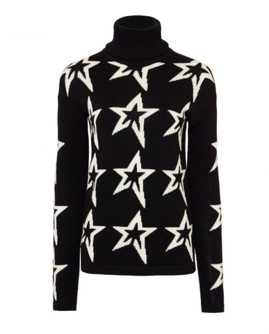Perfect Moment - Women's Merino Wool Stardust Black Snow White Star Turtleneck Sweater
