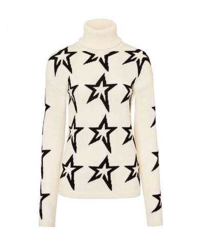 Perfect Moment - Women's Merino Wool Stardust Snow White Black Star Turtleneck Sweater