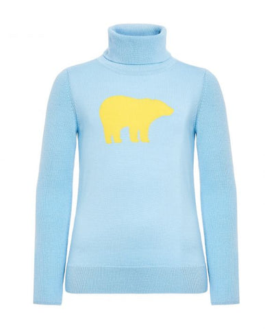 Perfect Moment - Kids' Merino Wool Bear Alaska Blue Yellow Turtleneck Sweater