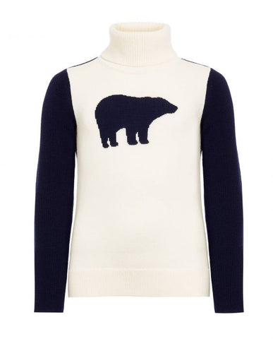 Perfect Moment - Kids' Merino Wool Bear Snow White Navy Turtleneck Sweater
