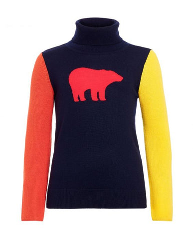 Perfect Moment - Kids' Merino Wool Bear Navy Rainbow Turtleneck Sweater