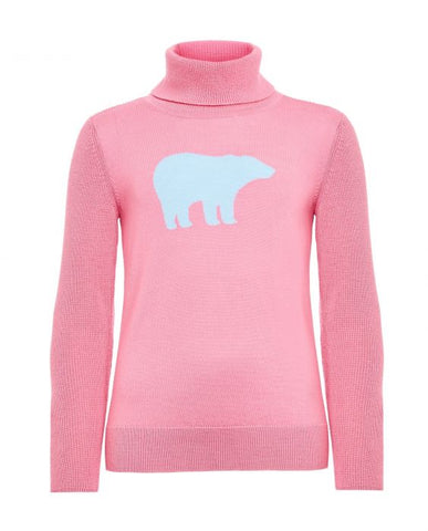 Perfect Moment - Kids' Merino Wool Bear Pink Alaska Blue Turtleneck Sweater