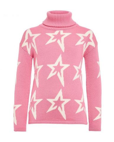 Perfect Moment - Kids' Stardust Merino Wool Peach Pink Snow White Star Turtleneck Sweater