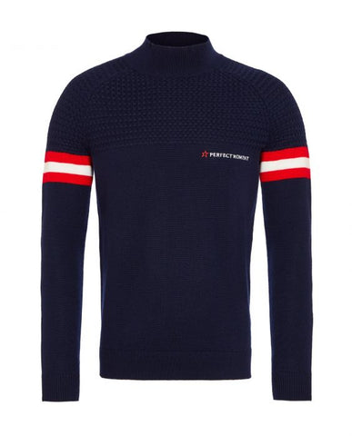 Perfect Moment - Men's Chamonix Navy Red Snow White Turtleneck Sweater