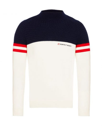 Perfect Moment - Men's Chamonix Snow White Navy Red Turtleneck Sweater