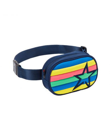 Perfect Moment - Unisex Striped Navy Pure Pink Rainbow  Bum Bag /  Lenses