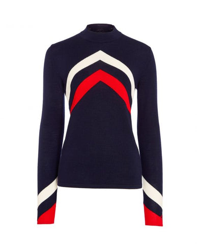 Perfect Moment - Women's Merino Wool Ski Chevron Navy Red Snow White Sweater