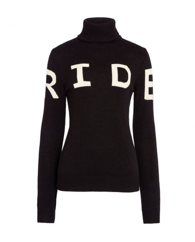 Perfect Moment - Women's Merino Wool Ride II Black Turtleneck Sweater