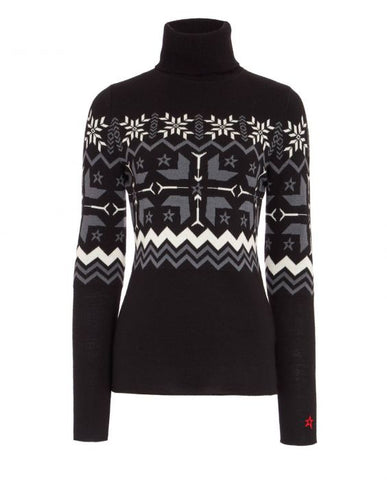 Perfect Moment - Women's Nordic Merino Wool Black Turtleneck Sweater