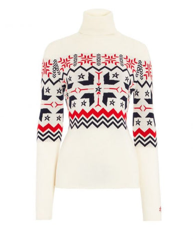 Perfect Moment - Women's Nordic Merino Wool Snow White Turtleneck Sweater