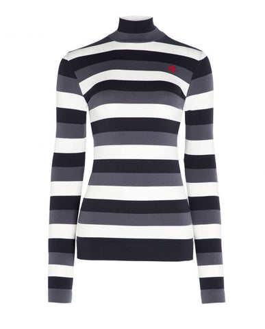 Perfect Moment - Women's Stripe Black  Thermal Turtleneck Top /  Lenses