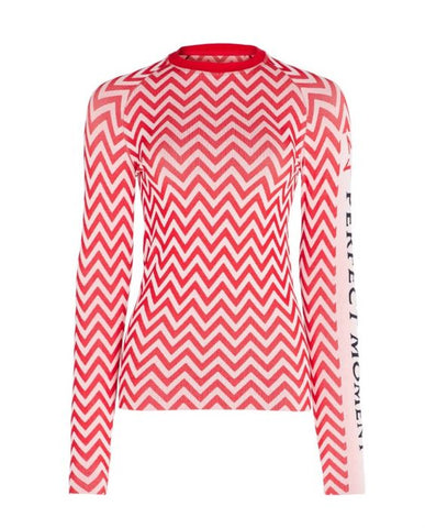 Perfect Moment - Women's Zigzag Red  Thermal Crew Neck Top /  Lenses