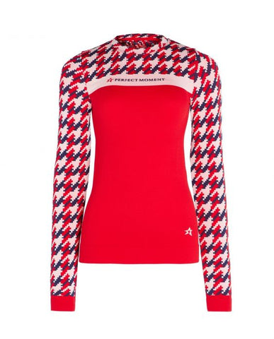 Perfect Moment - Women's Houndstooth Red  Thermal Crew Neck Top /  Lenses