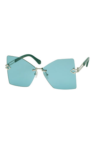 Karen Walker - Wanderlust Silver Sunglasses / Light Green Lenses