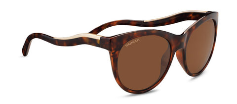 Serengeti - Valentina Shiny Red Moss Tortoise Satin Champagne Gold Sunglasses / Polarized Lenses