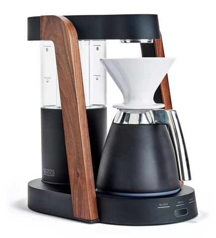 Ratio - Eight + Thermal Carafe Package Matte Black Walnut Handblown Glass Coffee Maker