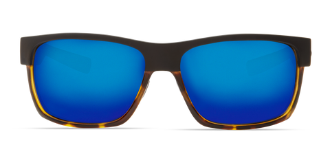 Costa - Half Moon Matte Black + Shiny Tortoise Sunglasses / Blue Polarized Glass Lenses