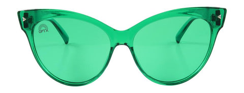 RainbowOPTX - Cat Eye Transparent Green Sunglasses / Green Lenses