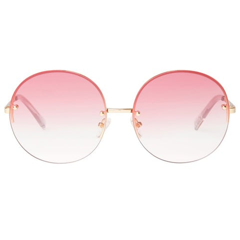 Le Specs - Say My Name Bright Gold Sunglasses / Pink To Blush Gradient Lenses