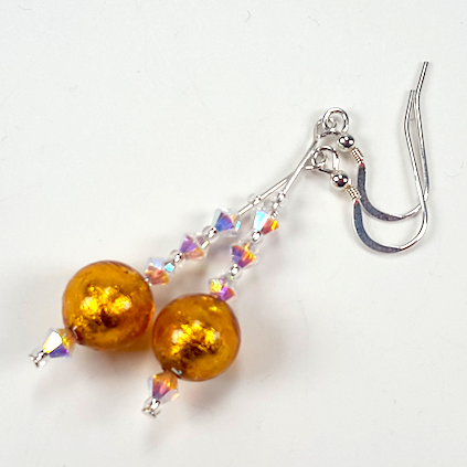 Golden Murano glass hook earrings