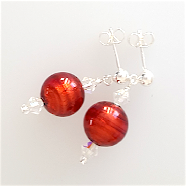 Red Murano post earrings