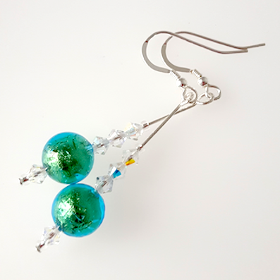 Aqua/green Murano hook earrings