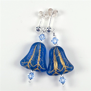 Blue bell post earrings