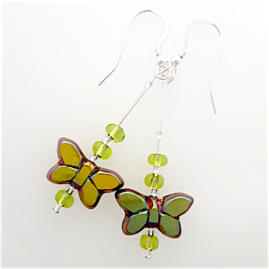 Green metallic butterfly hook earrings