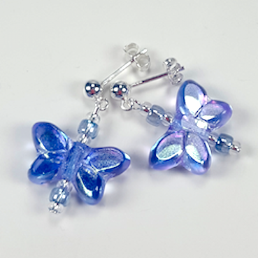 Lavender butterfly post earrings