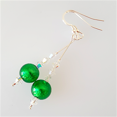 Bright green Murano hook earrings