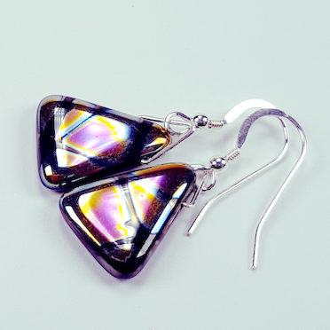 Black pyramid hook earrings
