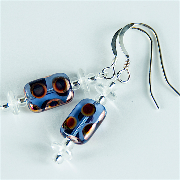 Blue multi spot lozenge hook earrings